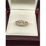 18ct GOLD 0.50ct 3 STONE DIAMOND RING