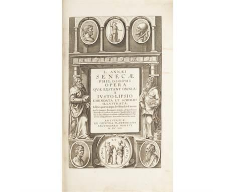 Seneca, Lucius Annaeus Opera philosophicae Antwerp: ex officina Plantiniana Balthasaris Moreti, 1652. Folio [20 (inc. title &