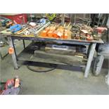 49 in. x 72 in. Steel Work Table; with 8 in. Bench Vise (No Contents)