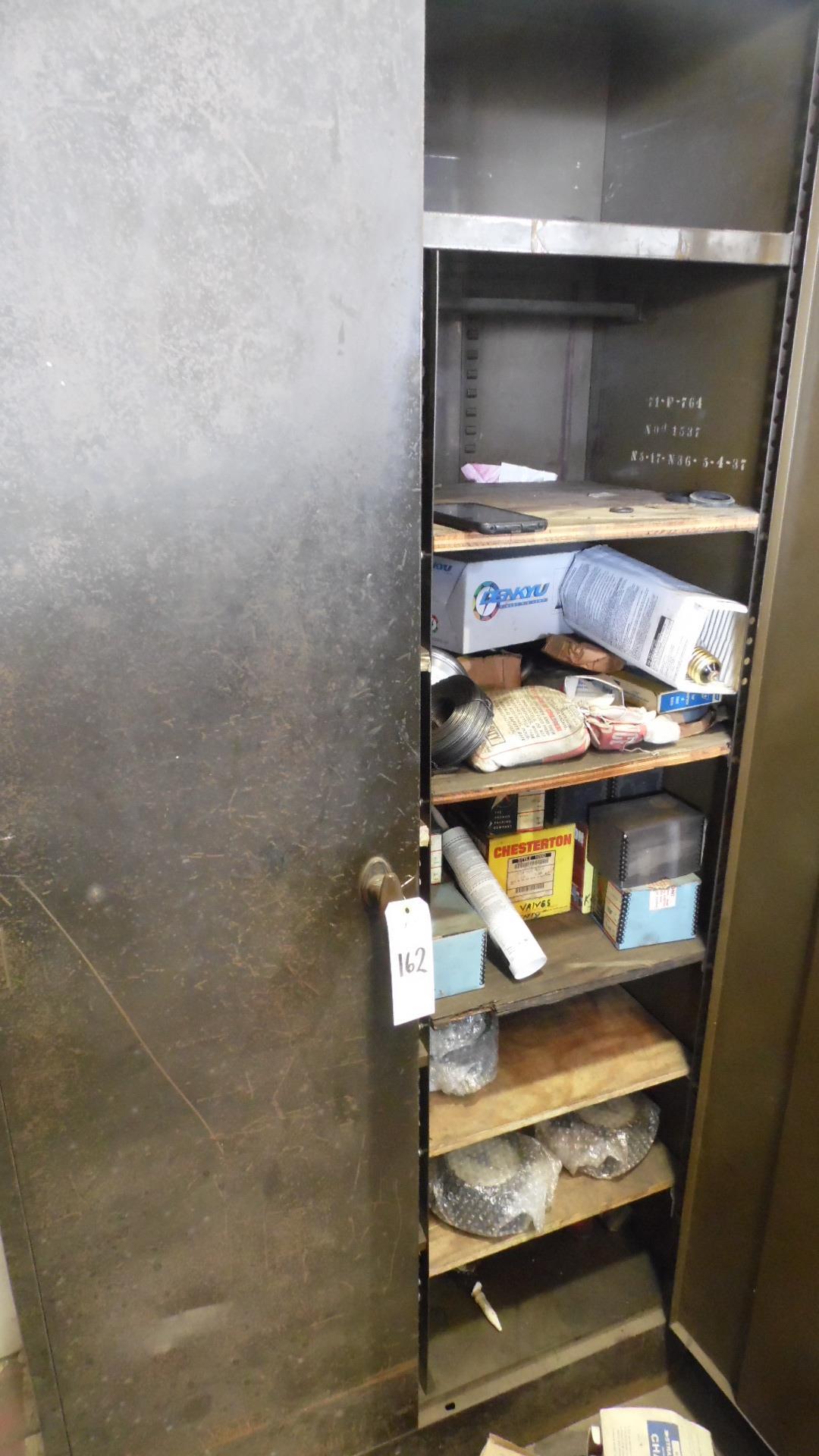 Lot 162 - 2-DOOR METAL CABINET w/ CONTENTS