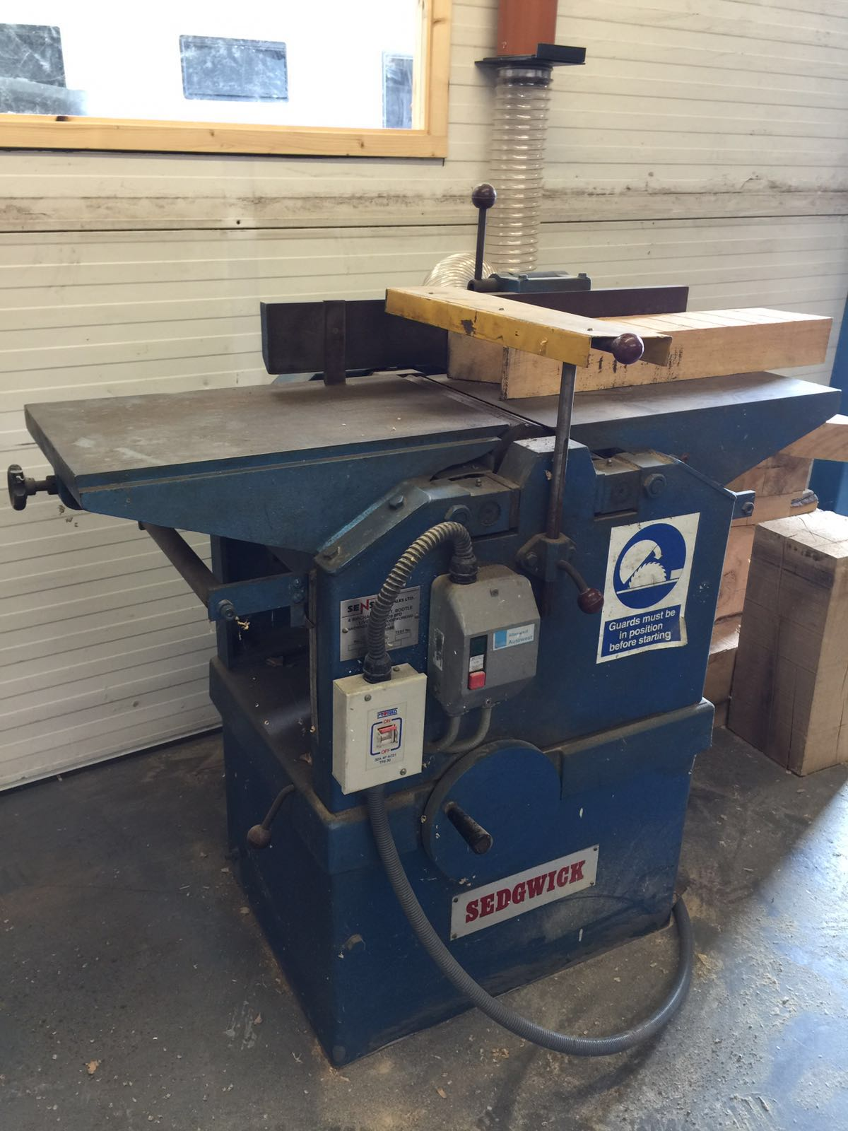 Nr 2005 sedgwick bench planer thicknesser in working order 300mmm wide blade 3 phase 415v f Bench planer