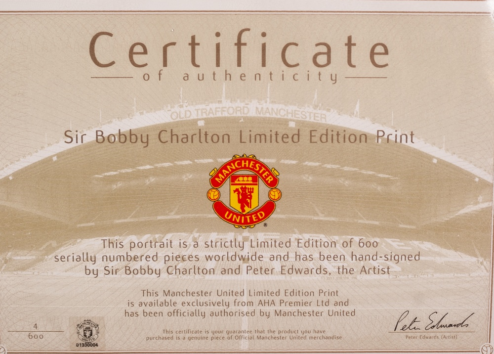 "Lot 59 - LIMITED SIGNED PRINT OF BOBBY CHARLTON 25 1/2"" X 18 1/2"" (65cm x 47cm) framed and glazed"