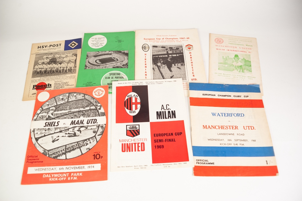 Lot 80 - SEVEN MANCHESTER UNITED AWAY PROGRAMMES v Sporting; Hamburger, SV, Shelbourne, and Hibernians, FC