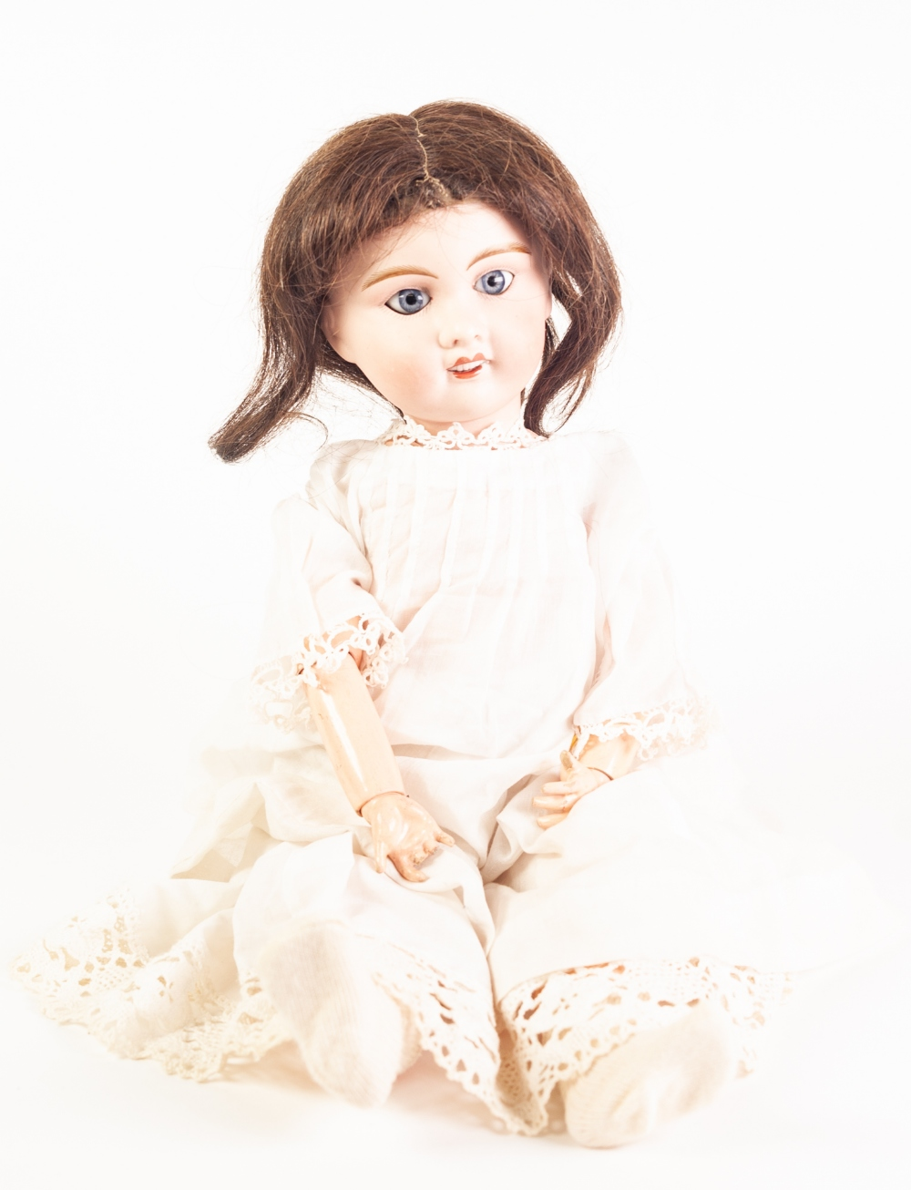 Lot 308 - FRENCH, PROBABLY SFBJ BISQUE HEADED 'PETITE' BABY DOLL with bisque head, fixed blue 'paperweight'