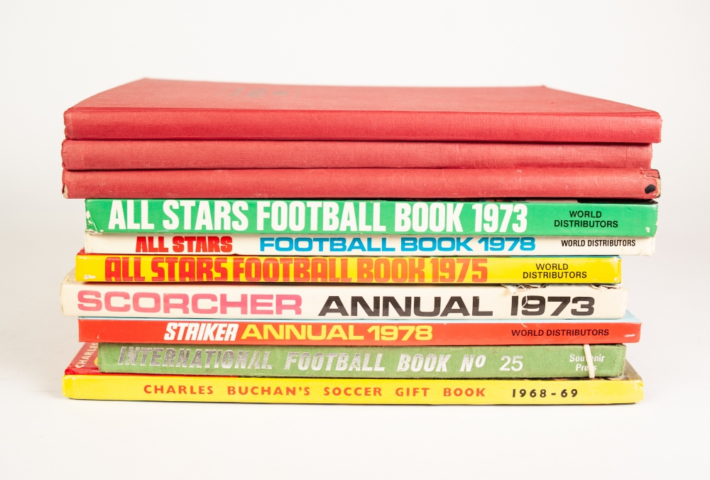 Lot 111 - THREE TOPICAL TIMES FOOTBALL BOOKS, 1973/74, 71/72, 69/70, 3 ALL STARS books 1973, 1975 and 1976,.