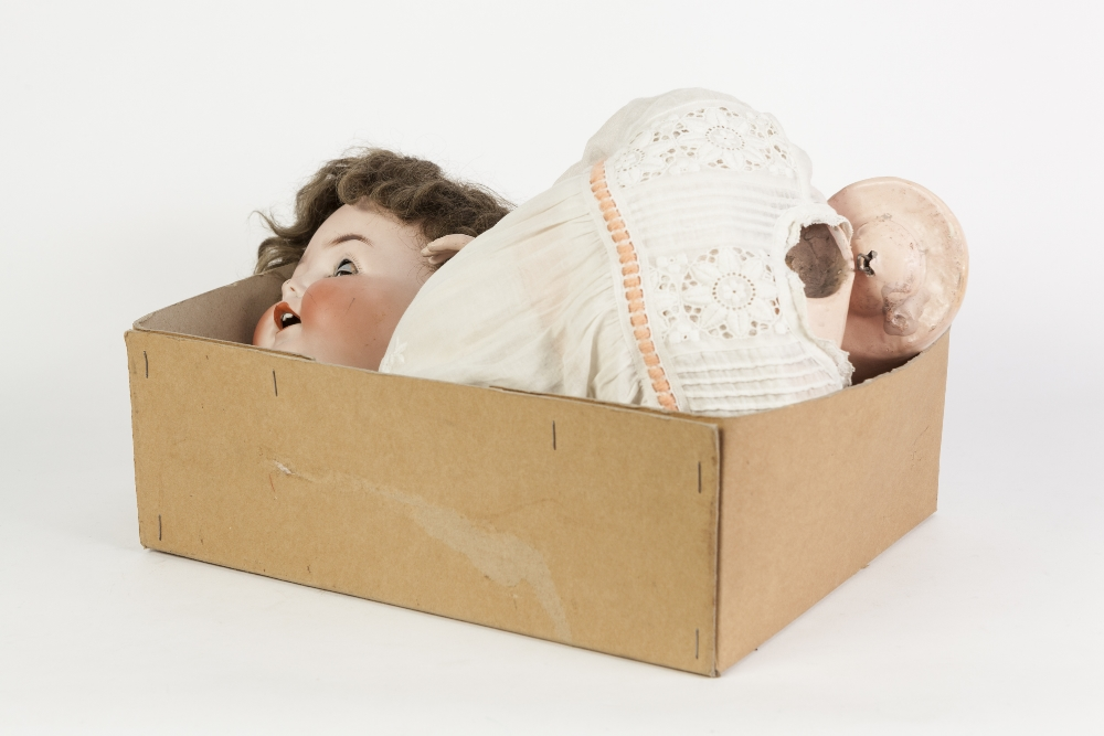 Lot 315 - AN EARLY 20TH CENTURY HEUBACH - KOPPLESDORF LARGE BISQUE HEAD CRYING BABY DOLL with open mouth