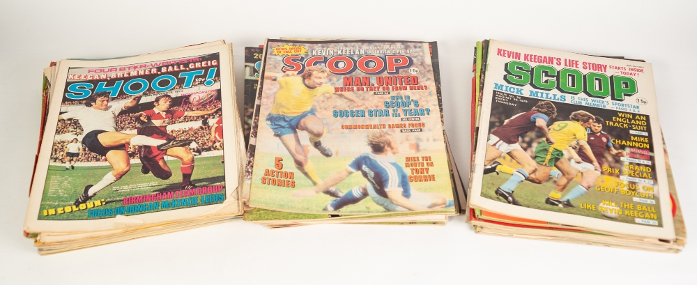 Lot 110 - SCOOP FOOTBALL MAGAZINES Issues 1 - 100, Issues 52, 86, 95 missing, 135 Shoot Magazine from 1974