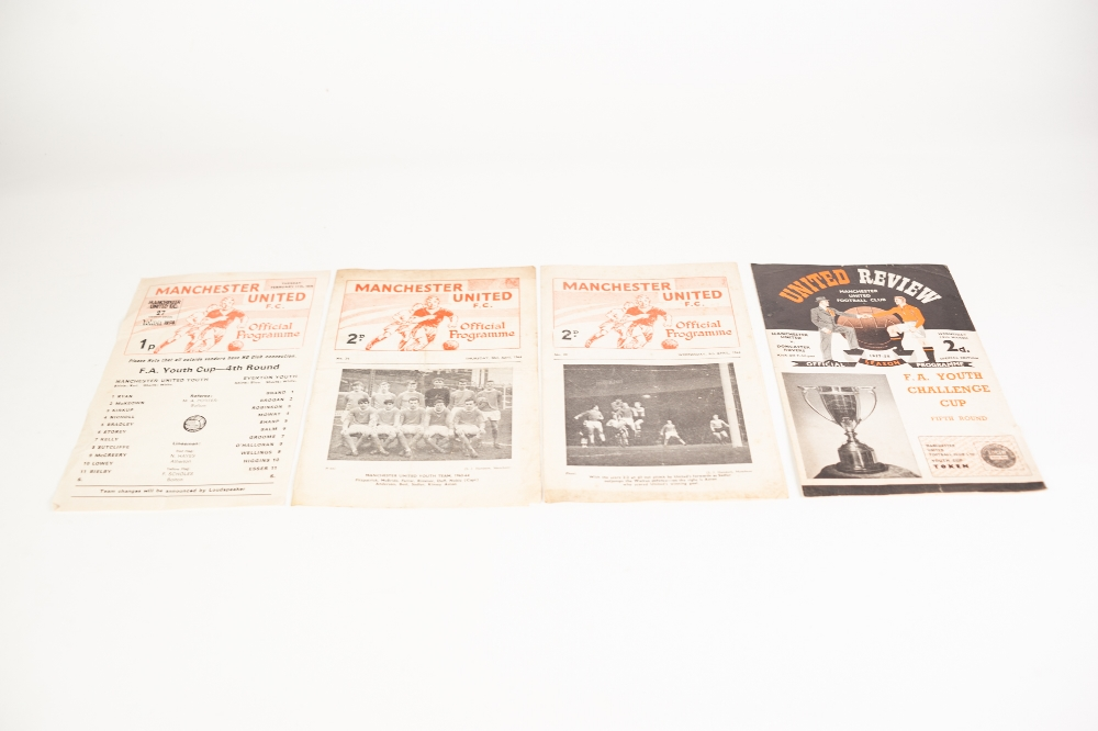 Lot 96 - FOUR MANCHESTER UNITED YOUTH HOME PROGRAMMES, 1957/58 SEASON v Doncaster Rovers, v Everton 1974/75
