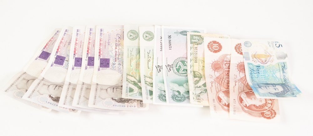 Lot 8 - FIVE UK £20 NOTES Bank of England issue, one current £5 note; 2 GREEN ONE POUND NOTES signed D.H.