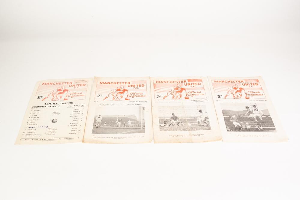 Lot 97 - FOUR MANCHESTER UNITED RESERVE PROGRAMMES v Wolves 1962/63, v Manchester City 1965/66, and v Aston