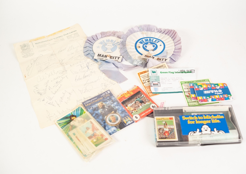 Lot 110c - SMALL QUANTITY OF FOOTBALL MEMORABILIA to include; ticket stubs from Wembley, rosettes etc......