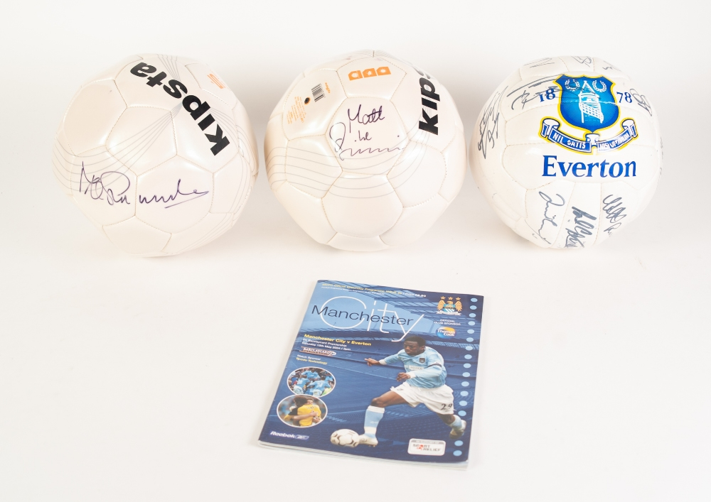 Lot 110a - THREE FOOTBALLS, 1 signed by Mike Summerbee, 1 signed by Matt le Tissier, and signed by Everton