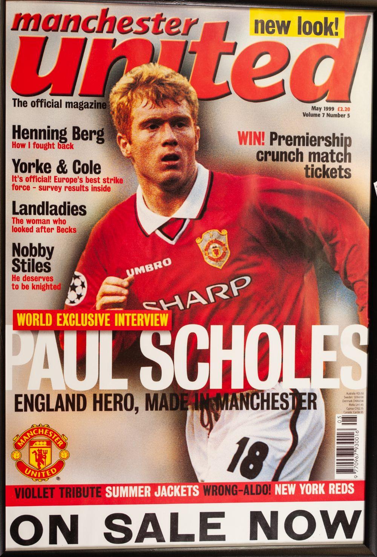 Lot 70 - SIX FRAMED AND GLAZED OF MANCHESTER UNITED PLAYERS, David Beckham (3), signed, Teddy Sherringham,