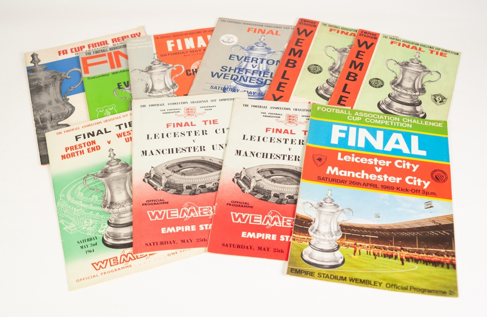 Lot 83 - TEN FA CUP FINALS FROM 1963, Manchester United v Leicester (2) to 1970 Leicester v Manchester
