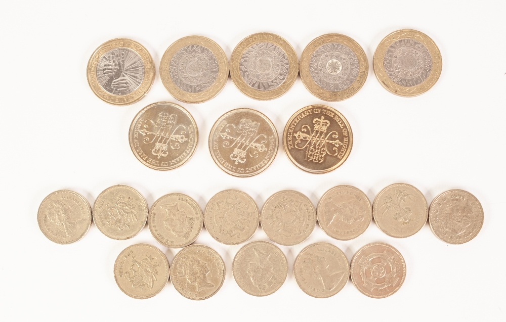 Lot 6 - FIVE BRITISH 2000 BI-COLOUR £2 COINS; THREE BRITISH 'Bill of Rights' £2 COINS, UNCIRCULATED AND 13