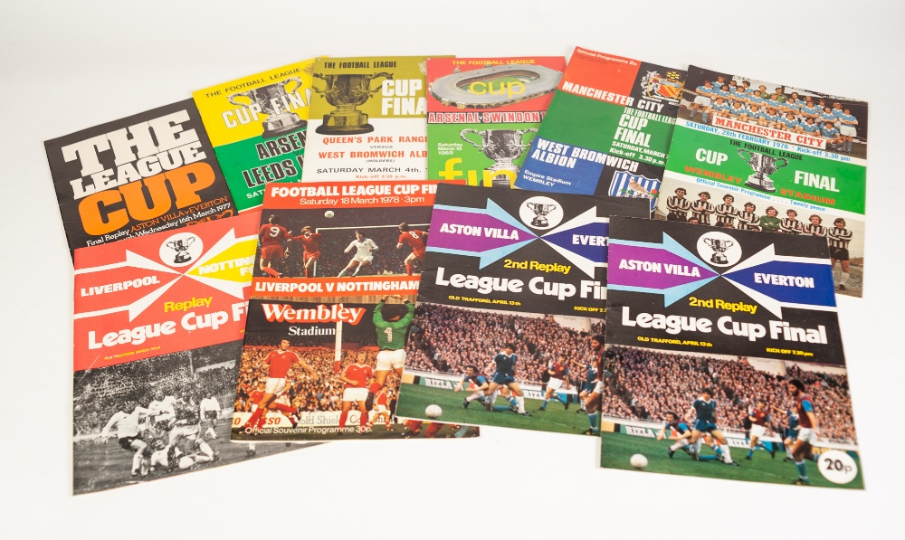 Lot 82 - TEN LEAGUE CUP FINALS FROM THE LATE 60's/EARLY 70's TO INCLUDE; Arsenal v Swindon '69, QPR v WBA '