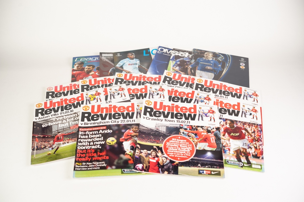 Lot 57 - MANCHESTER UNITED 33 HOME PROGRAMMES, SEASON 2010-11, 24 Aways, Rangers away Champions League, FC