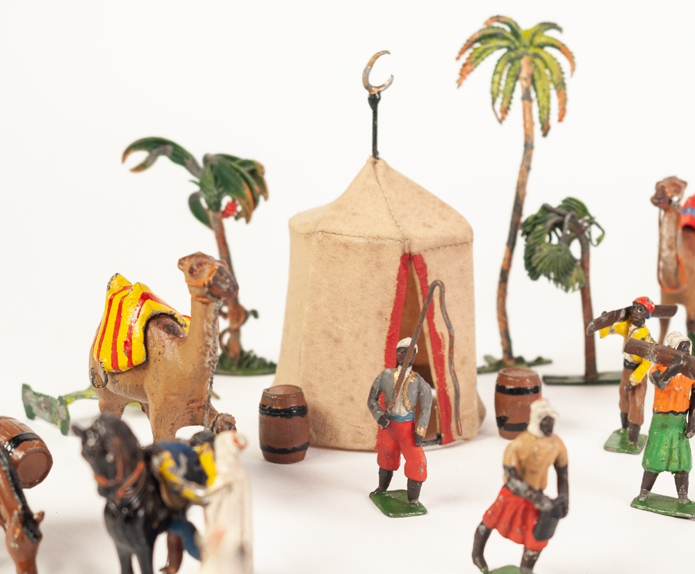 Lot 329 - AN EXTENSIVE SET OF COLD PAINTED LEAD SOLDIERS, representing Arab figures, camels, palm trees etc...