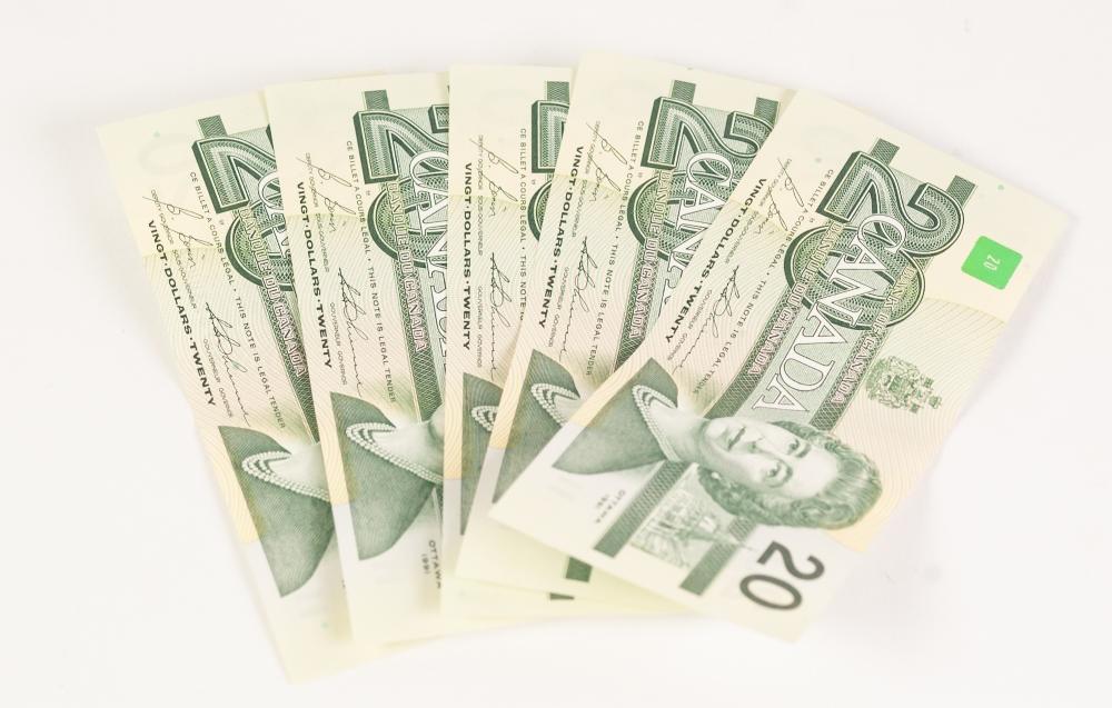 Lot 9 - FIVE MINT BANK OF CANADA OTTAWA 1991 20 DOLLAR CONSECUTIVE NOTES (5)