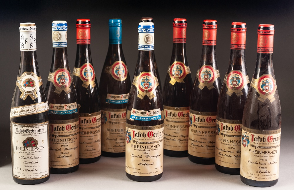 Lot 43 - TEN 70cl BOTTLES OF 1980's JACOB GERHARDT, GERMAN WINE, Riesling, 1986 (x2), Rulander, 1983 (x1),