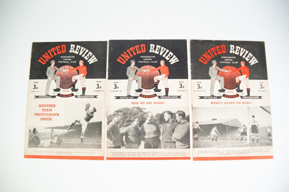 Lot 94 - THREE MANCHESTER UNITED HOME PROGRAMMES, 1949-50 SEASON v Birmingham City and TWO FROM THE 1950/51