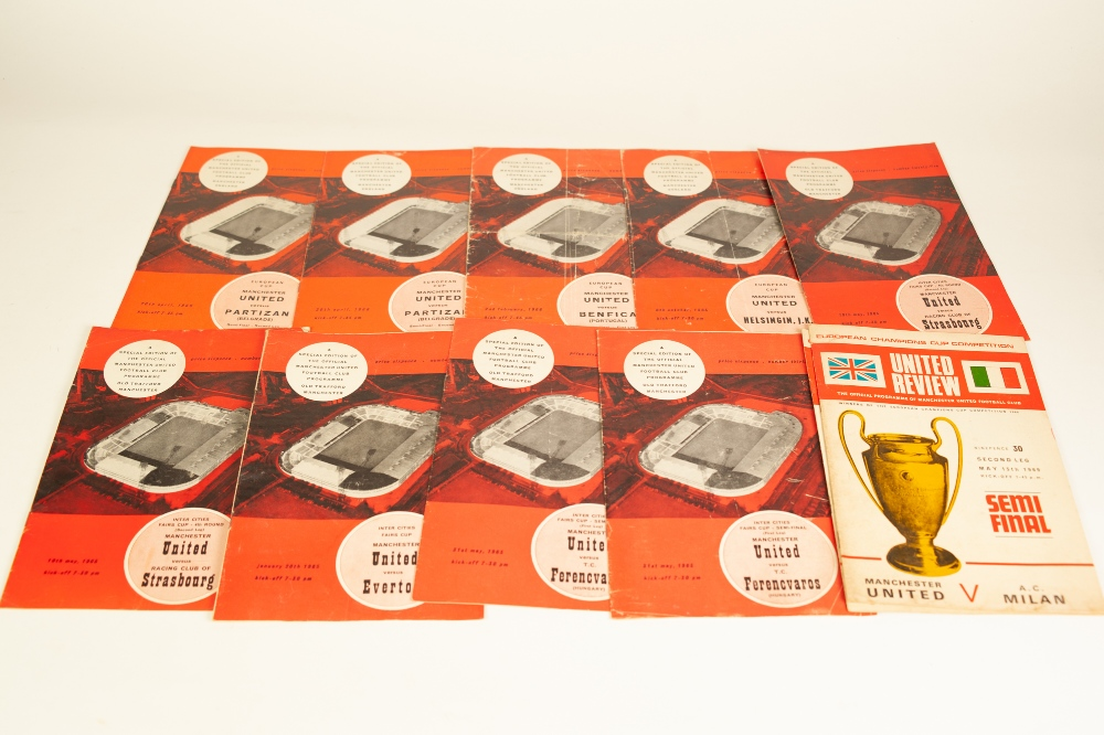 Lot 85 - ELEVEN MANCHESTER UNTIED PROGRAMMES IN EUROPEAN COMPETITIONS all with tokens from the 1960's