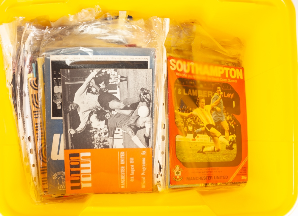 Lot 77 - APPROXIMATELY ONE HUNDRED MANCHESTER UNITED AWAY FOOTBALL PROGRAMMES, 1970's/ 80's, including;