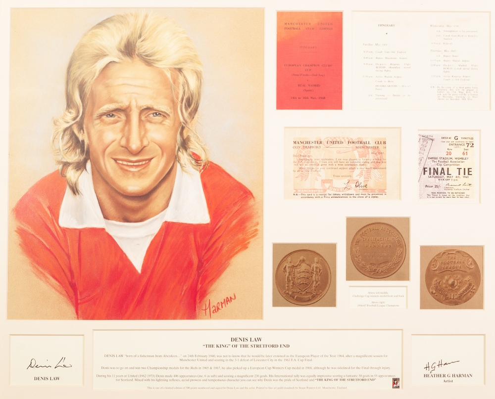 Lot 61 - MONTAGE OF DENIS LAW 'THE KING OF THE STRETFORD END' by Heather G. Harman A COLLECTION OF FUTERA