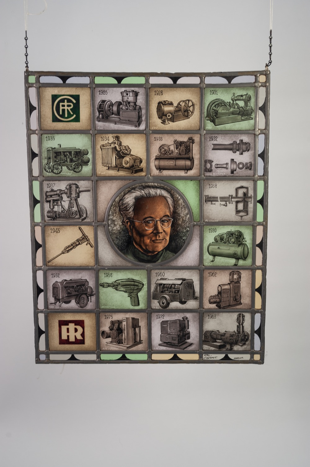 Lot 294 - INTERESTING STAINED AND LEADED GLASS ADVERTISING PANEL, comprising of twenty coloured glass oblong
