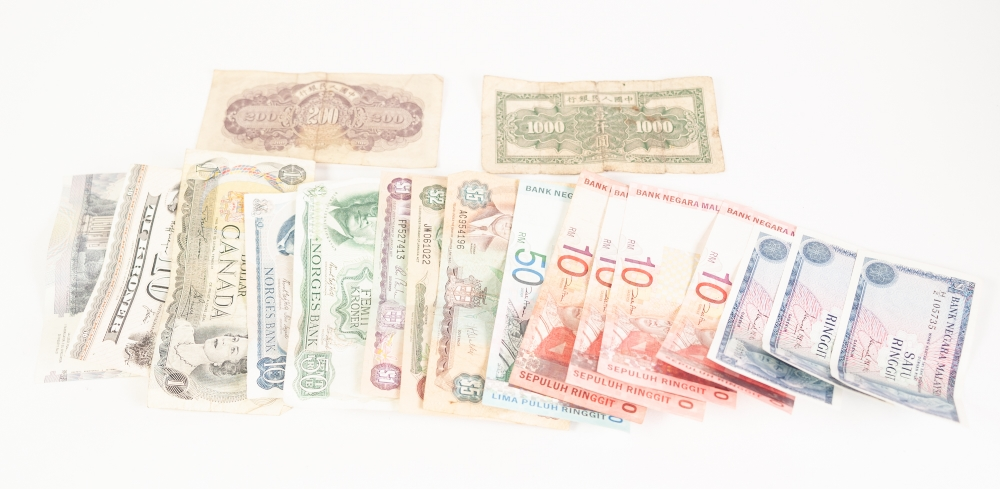 Lot 10 - EIGHTEEN FOREIGN BANK NOTES; viz one Malaysian 50 RM note; four 10 RM notes and three one dollar