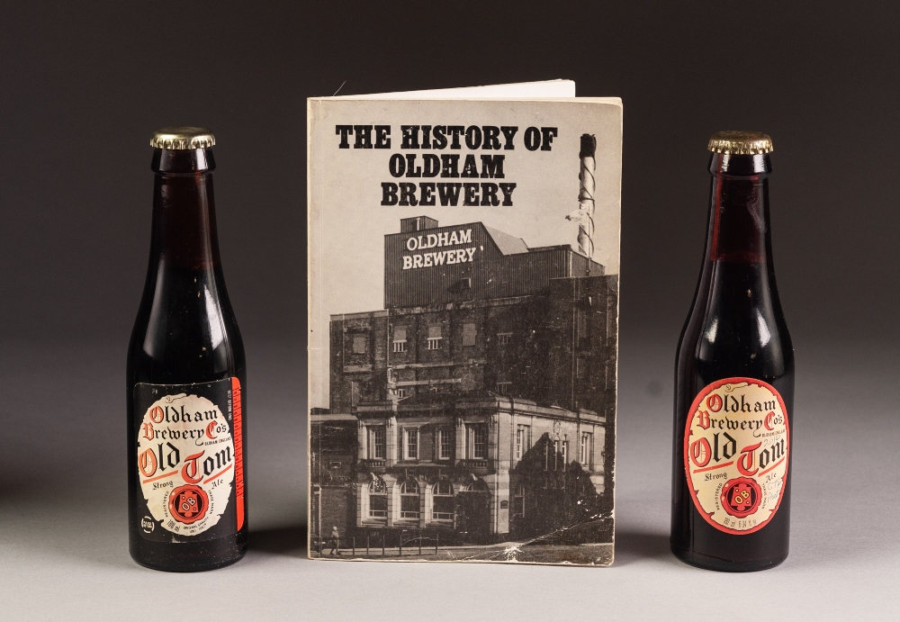 Lot 32 - TWO 180ml BOTTLES OF OLDHAM BREWERY 'OLD TOM STRONG ALE', and a booklet on THE HISTORY OF OLDHAM