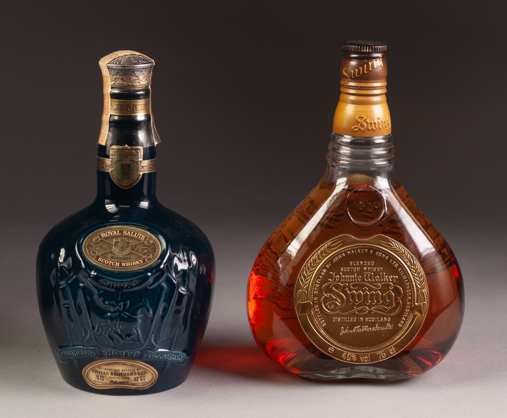 Lot 30 - BOTTLE OF JOHNNIE WALKER 'SWING' BLENDED SCOTCH WHISKY, and a BOTTLE OF CHIVERS BROTHERS 'ROYAL