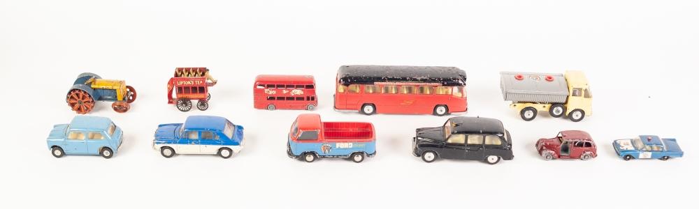 Lot 328 - CORGI TOYS DIE CAST MODELS - Austin London Taxi Cab, No. 418, ERF Tipper wagon No. 64; Corgi Major