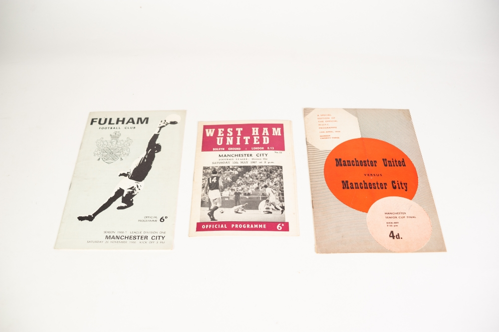 Lot 104 - THREE MANCHESTER CITY PROGRAMMES, v West Ham United 1967, Fulham 1966 and Manchester United 1959
