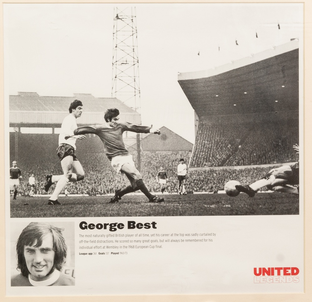 """Lot 65 - GEORGE BEST UNITED LEGEND framed and glazed 11"""" x 11"""" (28cm x 28cm) AND A COLOUR PRINT OF GEORGE"""