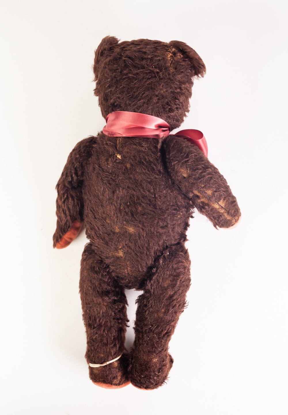 Lot 317 - AN EARLY TWENTIETH CENTURY WOOD STRAW FILLED CINNAMON PLUSH TEDDY BEAR, with in-operative growler,