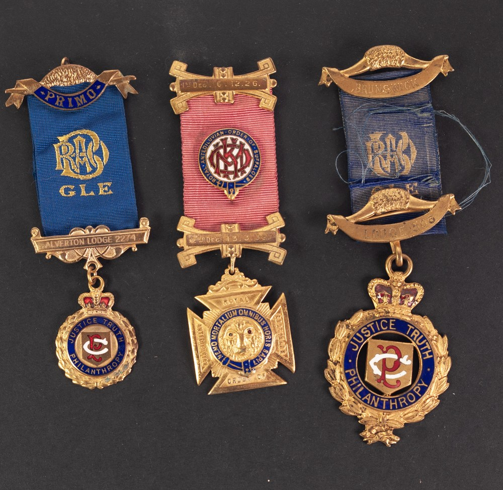 Lot 19 - ORDER OF THE BUFFALO, THREE ENAMELLED AND GILT METAL MEDALS WITH RIBBONS, (3)