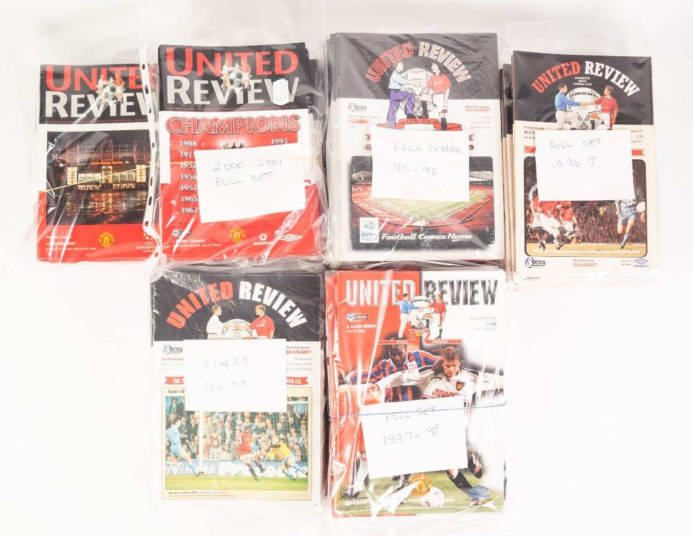 Lot 73 - MANCHESTER UNITED FOOTBALL PROGRAMMES, 1994-95, 1995-96, 1996-97, 1997-98 AND 2000-2001, all full