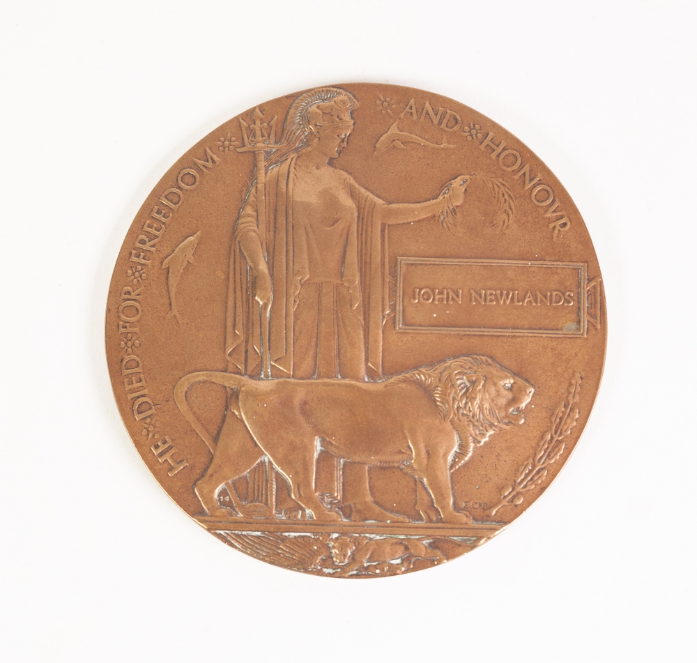 Lot 22 - A WORLD WAR I POSTHUMOUS PLAQUE to John Newlands