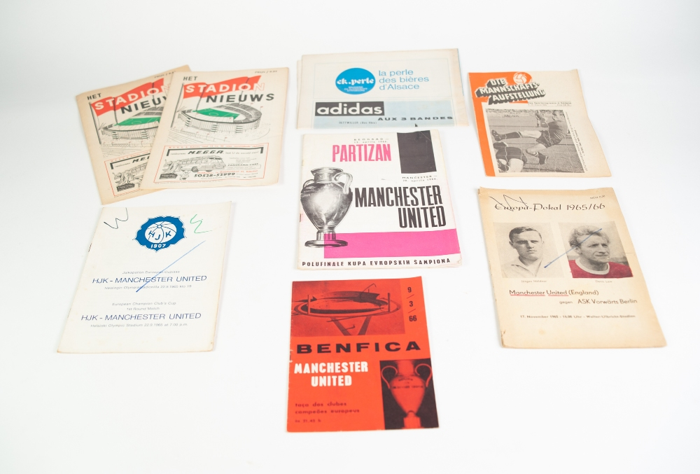 Lot 93 - SEVEN MANCHESTER UNITED AWAY PROGRAMMES IN EUROPE TO INCLUDE; Racing Club de Strasbourg, Ask