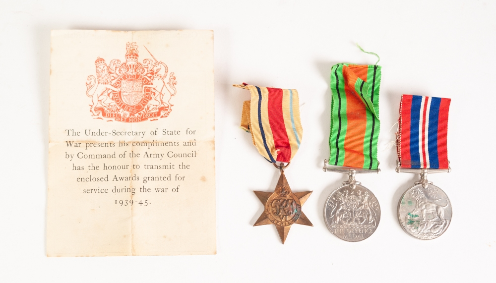 Lot 23 - THREE WORLD WAR II MEDALS to Major W.G. Worthington, namely War medal 1939-45, Defence Medal and
