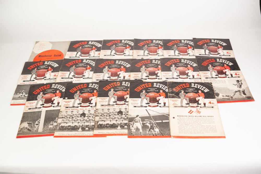 Lot 103 - 18 MANCHESTER UNITED PROGRAMMES FROM SEASON 1956/57, 4 matches to include; Real Madrid, 5 matches