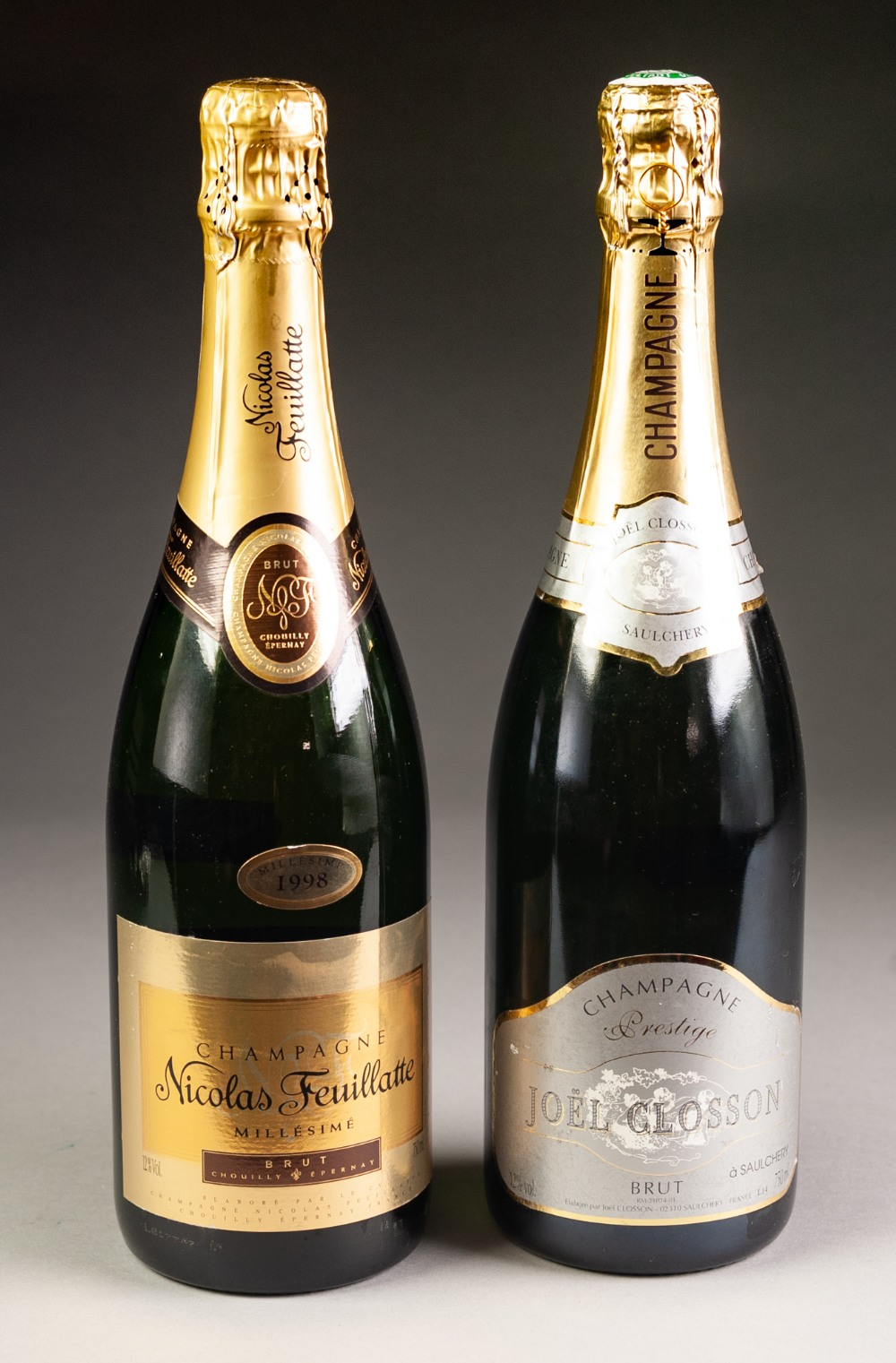 Lot 38 - TWO BOTTLES OF CHAMPAGNE, NICOLAS FEUILLATTE, 1998, and JOEL CLOSSON, no date, purchased by the