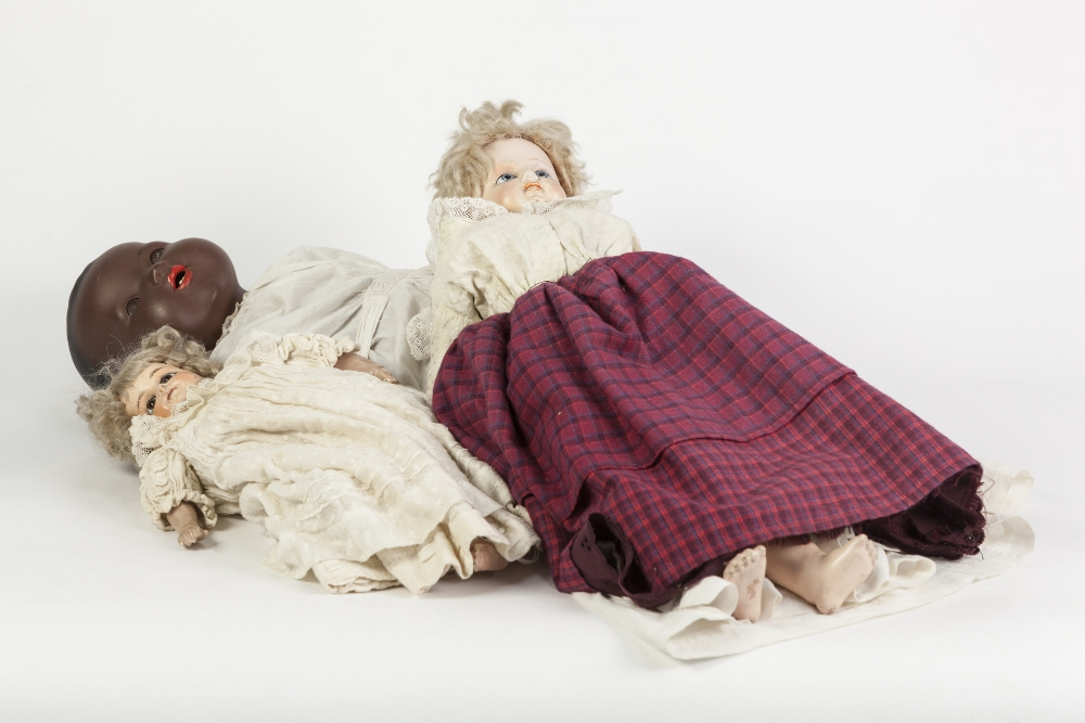 Lot 316 - EARLY 20th CENTURY ARMAND MARSEILLE POTTERY HEAD BLACK BABY DOLL with open mouth, sleeping brown