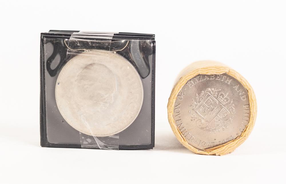 Lot 11 - SEVEN ELIZABETH II 1965 'CHURCHILL' CROWN COINS, an unopened tube of approx TWENTY ELIZABETH AND