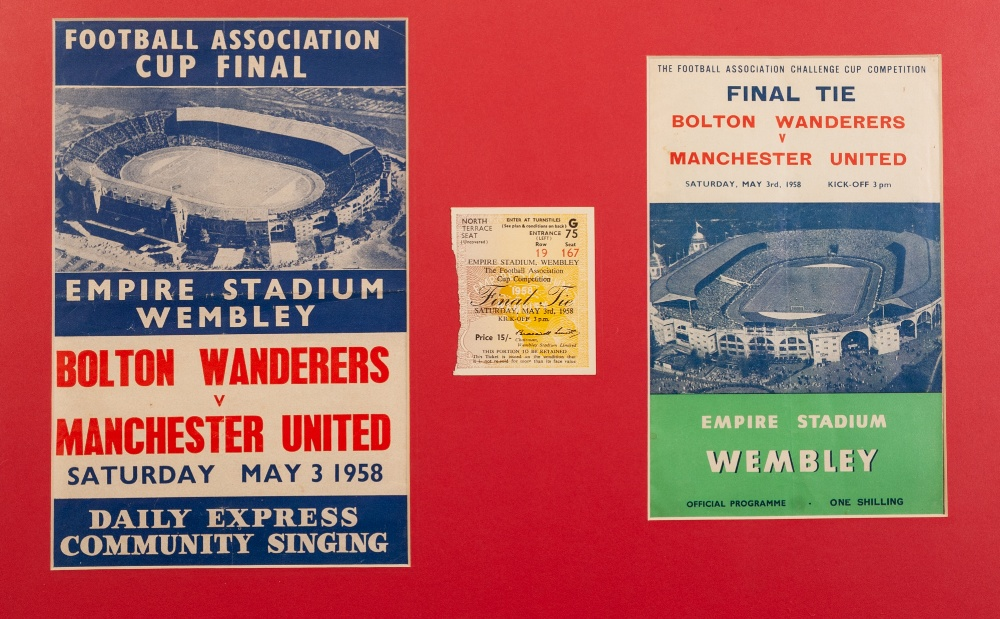 Lot 63 - FRAMED AND GLAZED BOLTON v MANCHESTER UNITED 1958 FINAL PROGRAMME with ticket stub and song sheet