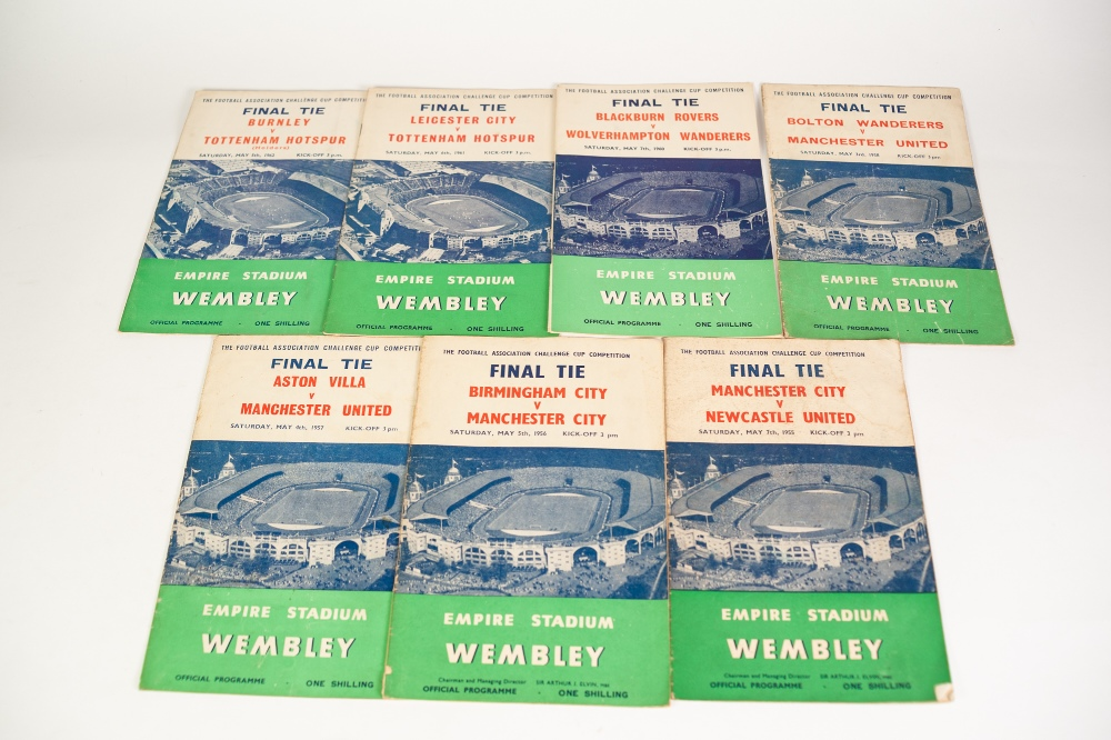 Lot 84 - SEVEN FA CUP FINAL PROGRAMMES FROM 1955, Newcastle v Manchester City, to 1962 Burnley v Spurs (7)