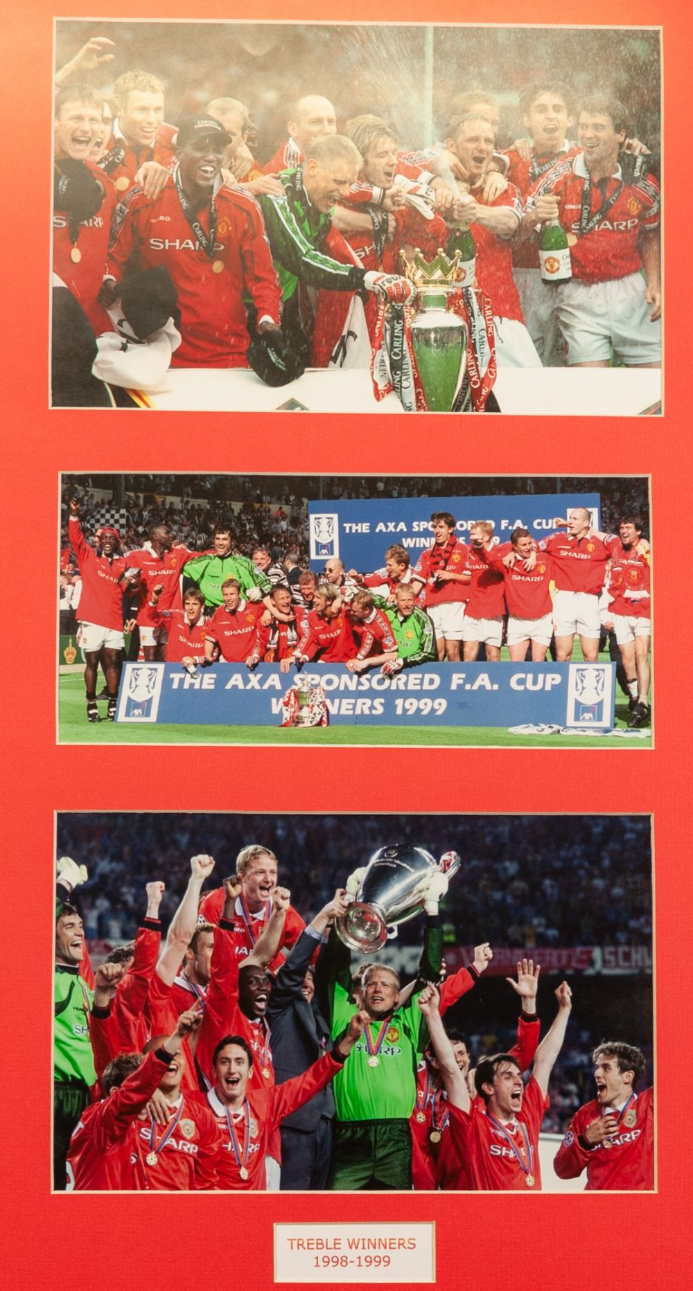 Lot 69 - THREE FRAMED AND GLAZED PICTURES OF MANCHESTER UNITED PLAYERS, Team photo 1995/96, signed and 12