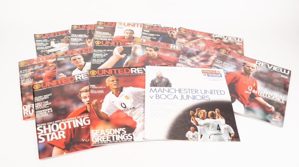Lot 75 - MANCHESTER UNITED FOOTBALL PROGRAMMES, 2002-03, FULL SET AND TWENTY ONE AWAYS, THREE EURO