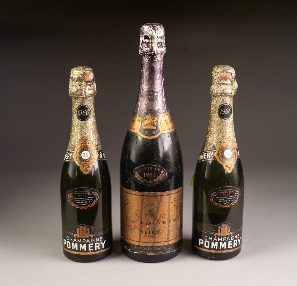 Lot 33 - BOTTLE OF VEUVE CLICQUOT PONSARDIN CHAMPAGNE, 1983, and TWO HALF BOTTLES OF CHAMPAGNE POMMERY, 1966,